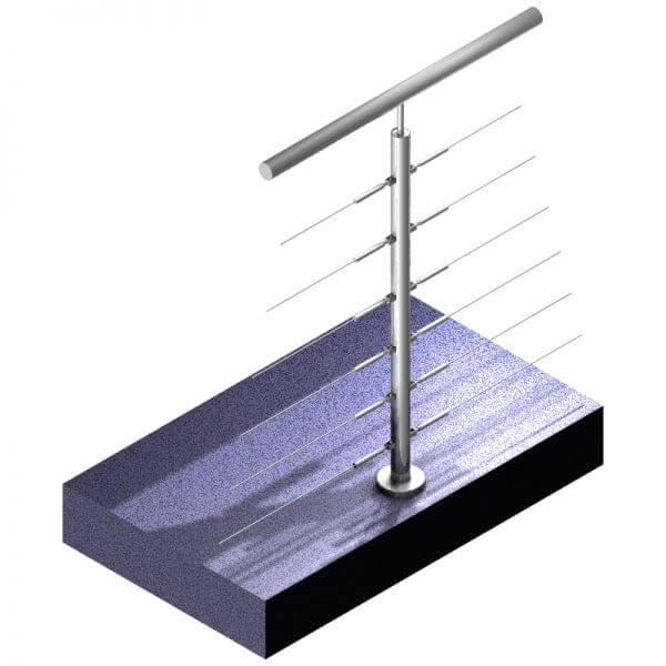 Poteau Inox 316 - 6 câbles - Double-départ