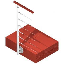 Poteau latéral Inox 304 - 6 câbles - Départ