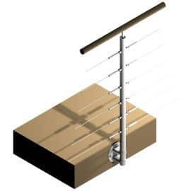 Poteau latéral Inox 304 - 6 câbles - Double départ
