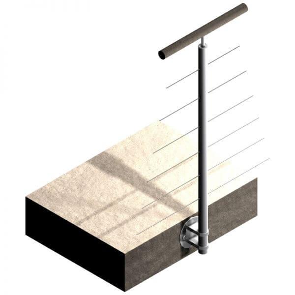 Poteau latéral Inox 304 - 6 câbles - Intermédiaire