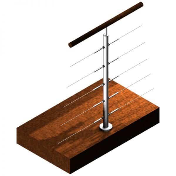 Poteau Inox 5 câbles - Double départ