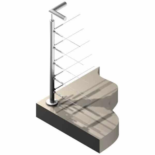 Poteau Inox 316 - 5 câbles - Double départ à 90°
