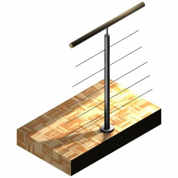 Poteau Inox 304 - 5 câbles - Intermédiaire