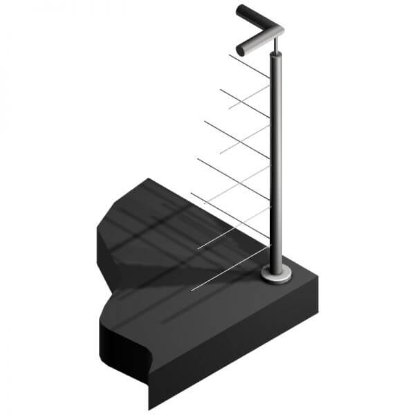 Poteau Inox 5 câbles - Intermédiaire à 90°