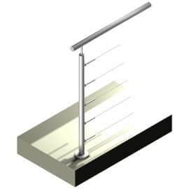 Poteau Inox 316 - 5 câbles - Départ