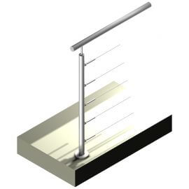 Poteau Inox 5 câbles - Départ