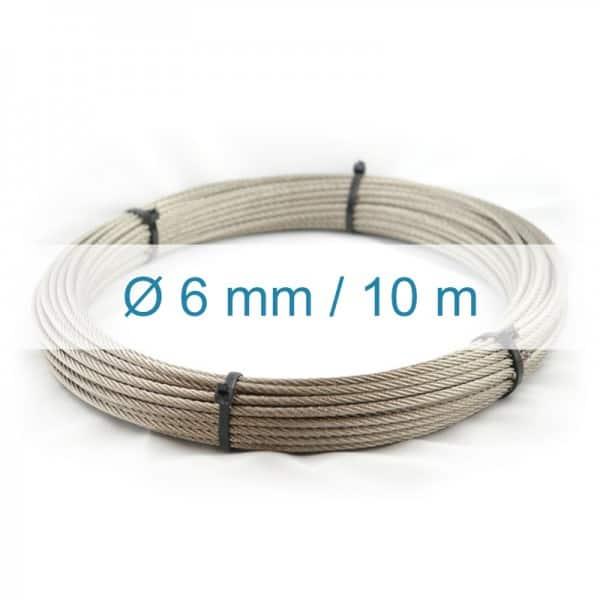 Câble inox 6mm - 10m