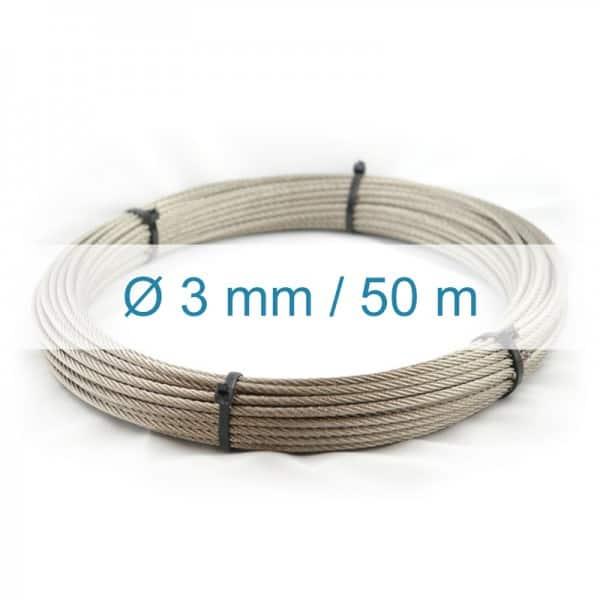 Câble inox 3mm - 50m