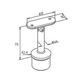 Support main courante - Orientable - Plat - Inox 304