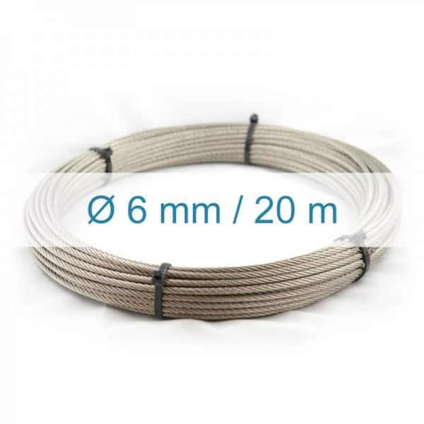 Câble inox 6mm - 20m