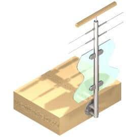 Poteau latéral Inox - Verre + 2 câbles - Double départ