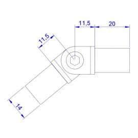 Raccord orientable 16mm - Inox 316