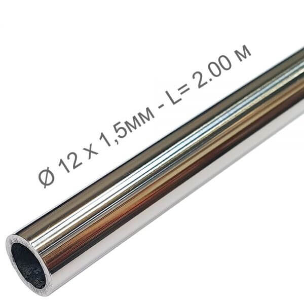 Tube inox 316 Poli 12mm - 2m