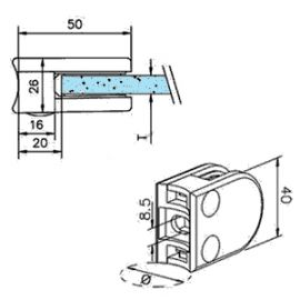 Pince à verre M20 - Inox 304 - Ø 42 mm