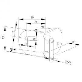 Platine latérale Inox 316 - 100mm - Angle extérieur