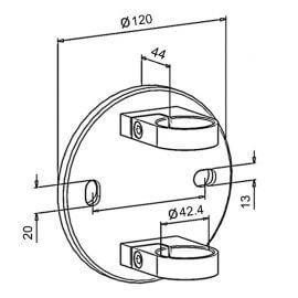 Platine latérale 120mm - Inox 304
