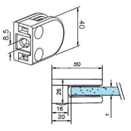 Pince à verre M20 - Inox 304 - Fond plat
