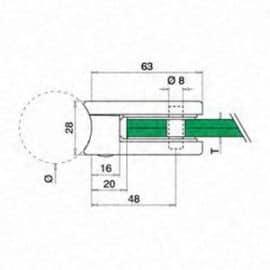 Pince à verre M22 - Inox 304 - Ø 42 mm