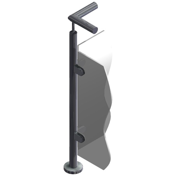Poteau pour verre - Angle 90° - Inox 304