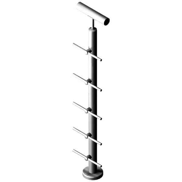 Poteau 5 barres - Inox 304