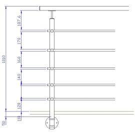 Poteau latéral 5 barres - Inox 304