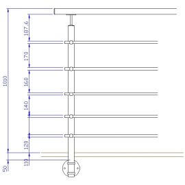 Poteau latéral 5 barres - Inox 316