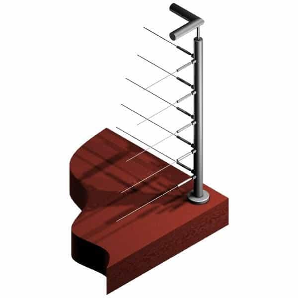 Poteau 5 câbles - Double départ à 90°- Inox 304