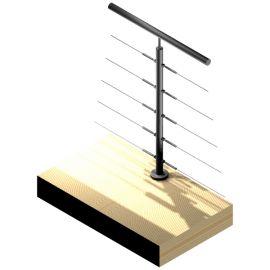 Poteau 5 câbles - Double départ - Inox 304