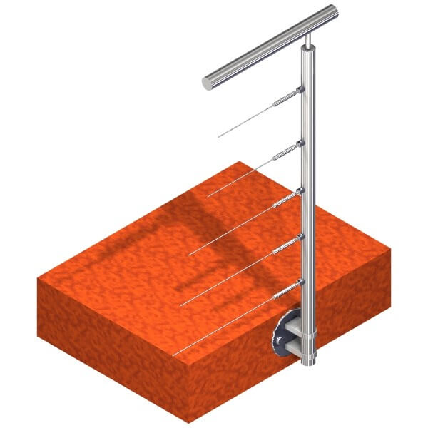 Poteau latéral Inox - 5 câbles - Départ