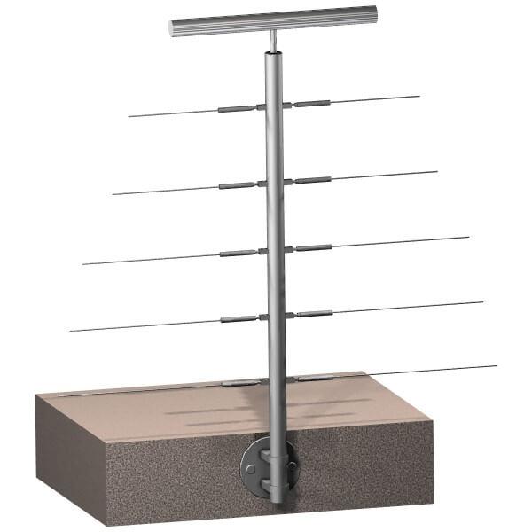 Poteau latéral 5 câbles - Double départ - Inox 316