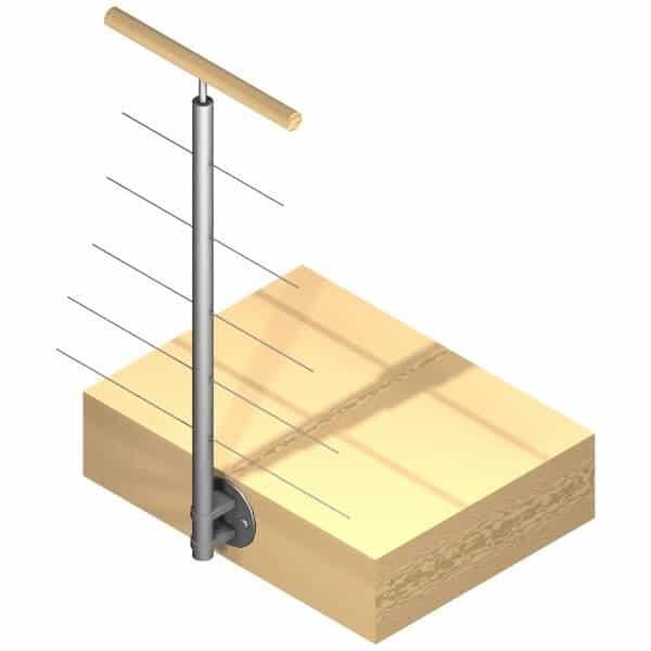 Poteau latéral 5 câbles - Intermédiaire - Inox 316