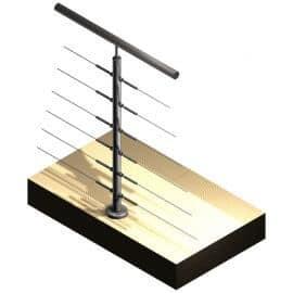 Poteau 6 câbles - Double-départ - Inox 304