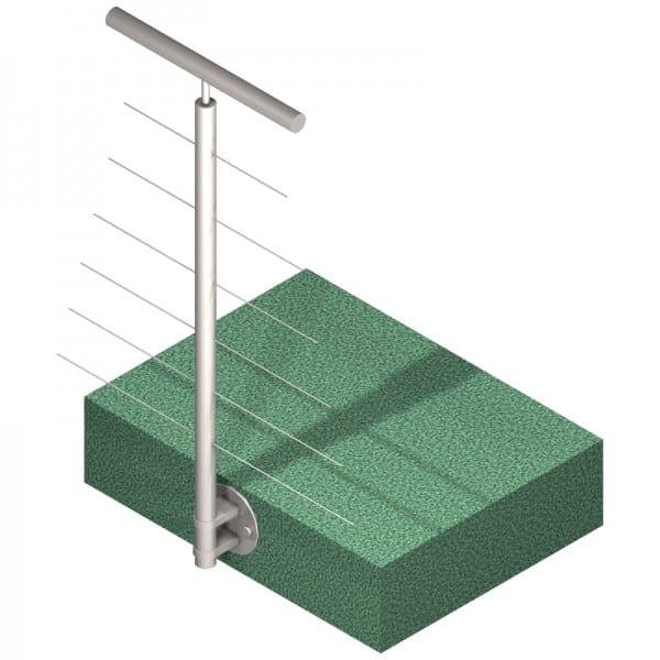 Poteau latéral 6 câbles - Intermédiaire - Inox 304