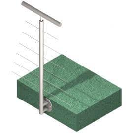 Poteau latéral 6 câbles - Intermédiaire - Inox 316