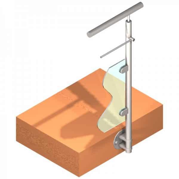 Poteau latéral pour verre + 1 barre - Départ droite - Inox 304