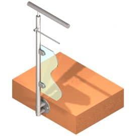 Poteau latéral pour verre + 1 barre - Départ gauche - Inox 304