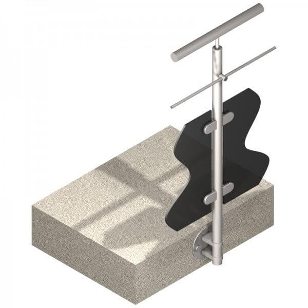 Poteau latéral pour verre + 1 barre - Intermédiaire - Inox 316
