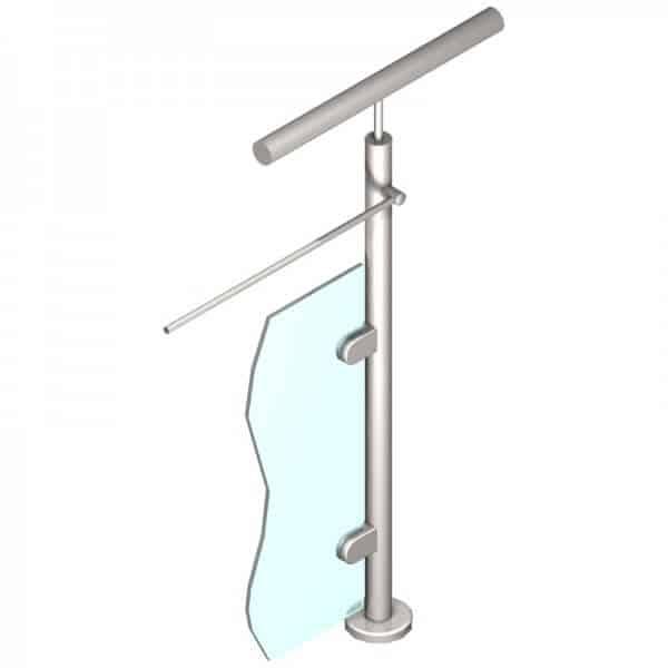 Poteau pour verre + 1 barre - Départ droite - Inox 316