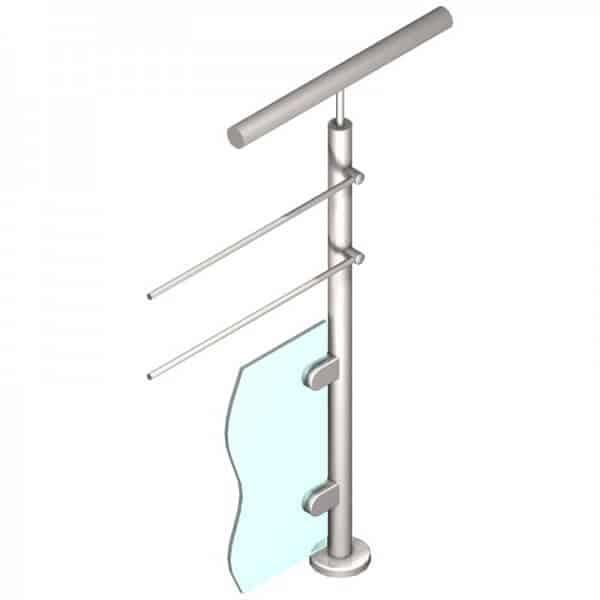 Poteau pour verre + 2 barres - Départ droite - Inox 316