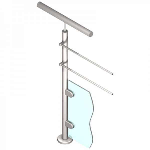 Poteau pour verre + 2 barres - Départ gauche - Inox 316
