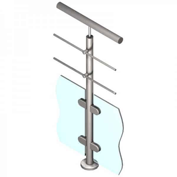 Poteau pour verre + 2 barres - Intermédiaire - Inox 304
