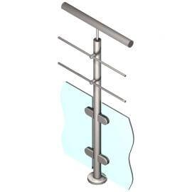Poteau pour verre + 2 barres - Intermédiaire - Inox 316