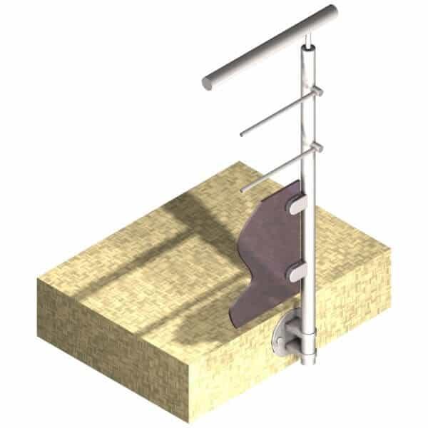 Poteau latéral pour verre + 2 barres - Départ droite - Inox 316