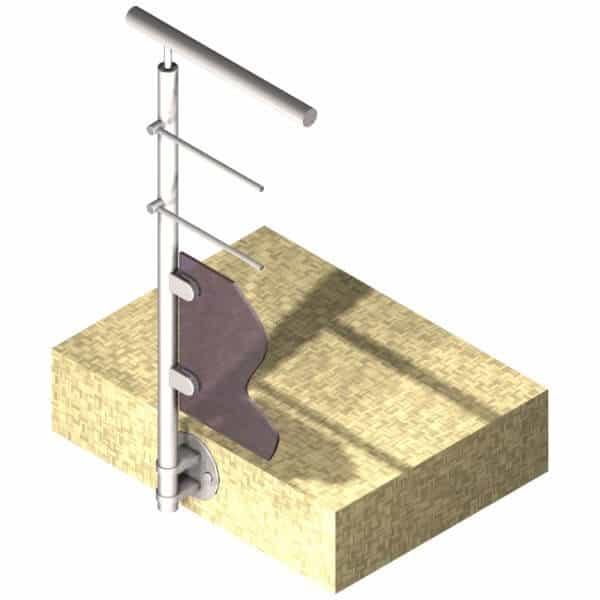 Poteau latéral pour verre + 2 barres - Départ gauche - Inox 316