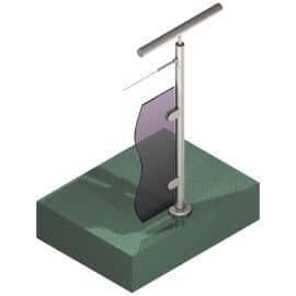 Poteau Inox 304 - Verre + 1 câble - Départ droite