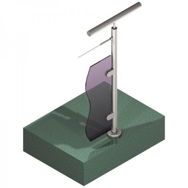 Poteau pour verre + 1 câble - Départ droite - Inox 304