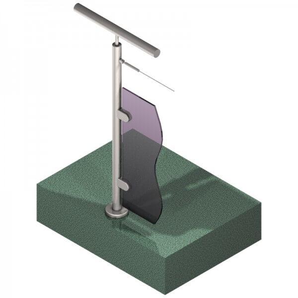 Poteau pour verre + 1 câble - Départ gauche - Inox 316