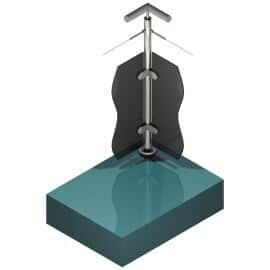 Poteau pour verre + 1 câble - Double départ 90° - Inox 316