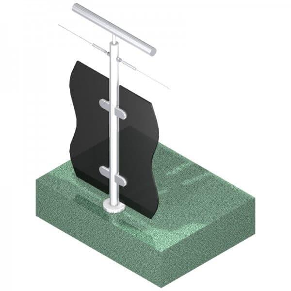 Poteau pour verre + 1 câble - Double départ - Inox 316
