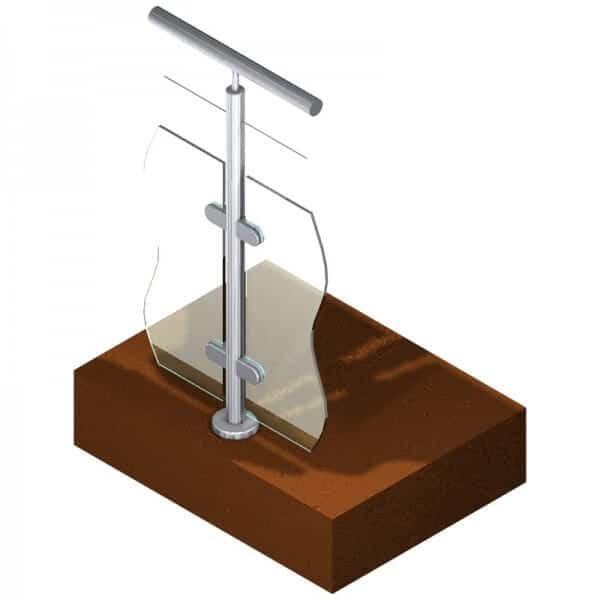 Poteau pour verre + 1 câble - Intermédiaire - Inox 316